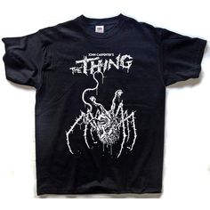 The Thing T-SHIRT John Carpenter Horror Alien ($30) ❤ liked on Polyvore featuring tops, t-shirts, blue cotton t shirts, blue t shirt, heavy t shirts, cotton t shirts and heavy cotton t shirts