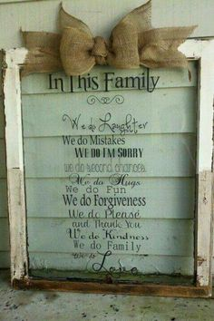 DIY: Love this window wit Burlap Crafts, Burlap Bows, Wood Crafts, Diy Crafts, Old Window Projects, Vinyl Projects, Projects To Try, Old Window Frames, Window Art