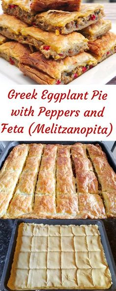 Greek Eggplant Pie with Peppers and Feta (Melitzanopita) - SocraticFood - cooking - Greek Recipes Cooked Vegetable Recipes, Vegetable Korma Recipe, Spiral Vegetable Recipes, Vegetarian Recipes, Cooking Recipes, Vegetable Samosa, Vegetable Casserole, Vegetable Dishes, Pizza Recipes