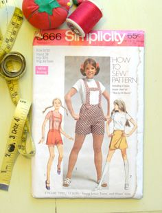 Vintage Sewing Pattern | 1969 Simplicity Young Junior Teens' Shorts with Suspenders and Skooter Skirt | Size 9-10 by LittleBohoCottage on Etsy