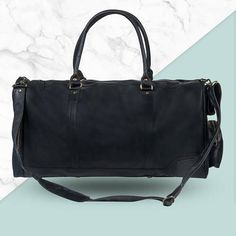 Black Leather Weekend Bag  Leather Duffle/Holdall  Overnight