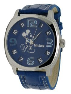 MCK969 Oversized Blue Men's Round Analog Disney Mickey Mouse Watch Disney. $33.18. Leather Band. Stainless Steel. Analog Dial
