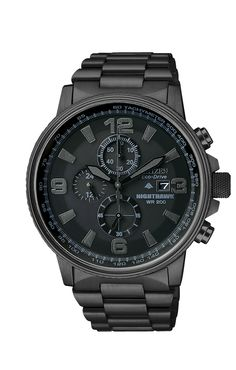 Citizen | Chronograph Eco-Drive Nighthawk Black Ion Plated Stainless Steel Bracelet 43mm CA0295-58E