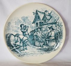 """Wonderful 11"""" French Tavern Scene Plate / Wall Plaque by Louis Mimard ~ Men at Tavern Drinking ~ H Boulenger & CO France 1860 - 1910"""