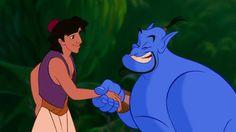Aladdin and Genie shaking hands