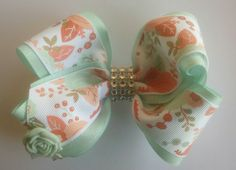 Mint Green Boutique Hairbow, Floral Hair Bow, Girls Stacked Hairbow, Easter Hair Bow by JazzyandSassyDesigns on Etsy