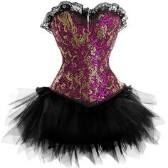 One of our best sellers, this pink and gold burlesque outfit is one of the original designs in the fashion corset range. The design is completed with black lace trim to both the neck line and edgings, to create a decadent, rich style. The net tutu skirt is detachable, so you can dress it up or down.   The pink and gold colors give off a wonderful sheen and are beautifully offset by the black lace. Step out onto the burlesque stage feeling like royalty in his exquisite corset set.