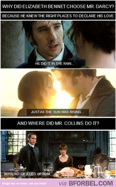 Plus Mr. Darcy is amazing and Mr. Collins was weird and used no pathos at all in his arguments..just logos -_-