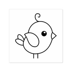 Cute Stylized Cartoon Bird Self-inking Stamp - black and white gifts unique special b&w style Cartoon Bird Drawing, Cartoon Birds, Cartoon Flowers, Bird Drawings, Doodle Drawings, Doodle Art, Cute Easy Drawings, Easy Cartoon Drawings, Simple Drawings For Kids