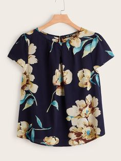 Costbuys Plus Flower Print Keyhole Aback Blouse Fleet Women Tops Boho Button Summer Round Neck Short Sleeve Blouses Womens Tops Plus Size Blouses, Plus Size Tops, Pleated Fabric, Plus Size Casual, Women's Casual, Lingerie, Dressy Tops, Navy Women, Short Sleeve Blouse