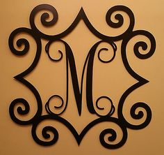 36 Inch Single Initial Steel Monogram with Wrought Iron Inspired Scroll Border