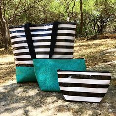 Classy & Cool. Black Stripe with a pop of Turquoise!  #turquoise…