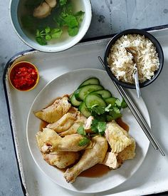 Recipe for Malaysian/Singaporean-style Hainanese chicken rice.