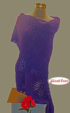Stylish handmade crochet shawl, a feminine accessory.  This elegant deep Plum purple shawl is the fashionable way to keep warm. Crochet Shawl Plum Women's Wrap by Little With Great Love, #Etsy Handmade Shop #crochet #handmadegift #christmasgift
