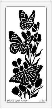 Dreamweaver Large Brass Stencil - Vertical Butterflies
