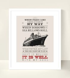 Christian Art Scripture Print - 8x10 inch - It is Well with my Soul - Bible Hymn. Nautical.