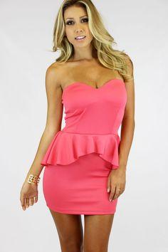 Basic Peplum Dress- Peach Shop: WWW.LUSHFOX.COM