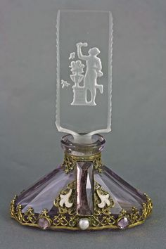 Czech Art Deco Intaglio Cut Jeweled Perfume Bottle