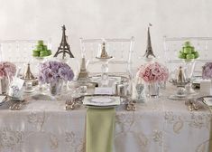"""Parisian Patisserie. Sweep mom and baby shower guests away for a magical day in the City of Lights with place settings that seemingly say """"bonjour."""""""