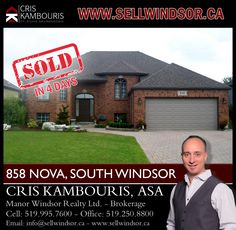 SOLD IN 4 DAYS - If you are ready to buy or sell a home in Windsor - Essex County contact me today to help! www.sellwindsor.ca or call: 519-995-7600
