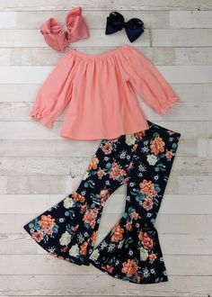 Solid coral peasant top for girls with navy, coral, and pink floral bell bottoms. Any accessories shown are not included. African Dresses For Kids, Dresses Kids Girl, Little Girl Outfits, Cute Girl Outfits, Cute Outfits For Kids, Toddler Girl Outfits, Little Girl Fashion, Dress For Little Girls, Toddler Fashion