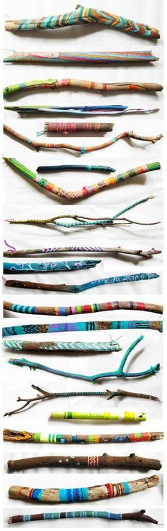 Painted twigs & driftwood. They look cute arranged in a mason jar or bottle! DIY - make a day out of it, go for a walk through the ravine collecting sticks, bring them home and paint them. Brennan would LOVE this!  @Kate Mazur Webster can we do this?!