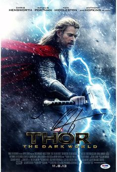 Chris Hemsworth Signed 12x18 Thor The Dark World Movie Poster Photo With Credits (PSA/DNA)