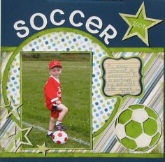 Soccer - Scrapbook.com Baseball Scrapbook, School Scrapbook, Kids Scrapbook, Scrapbook Templates, Scrapbook Page Layouts, Scrapbook Sketches, Scrapbooking Ideas, Scrapbook Cards, Digital Scrapbooking
