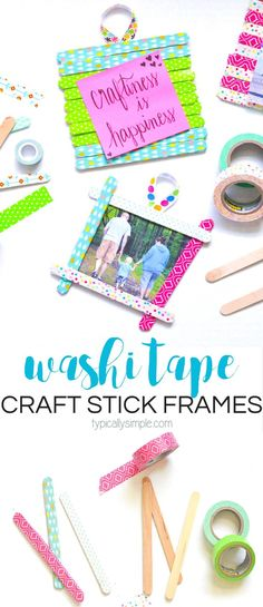 These washi tape craft stick frames are a fun craft project for both kids and adults alike! A great rainy day craft or make them as a thoughtful homemade Mothers Day gift! Craft Stick Projects, Craft Projects For Adults, Craft Stick Crafts, Easy Crafts, Kids Crafts, Craft Ideas, Art Projects, Craft Sticks, Crafty Projects