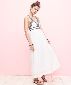 J.Crew women's embroidered cross-back maxi dress, embellished beaded bracelet and leather lace-up sandals.