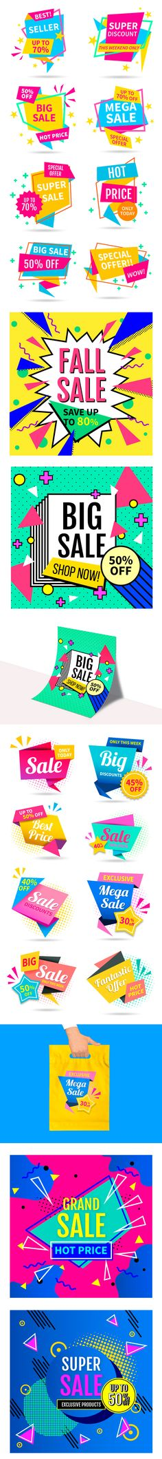 Free Colorful Sales Vector Set For Designers