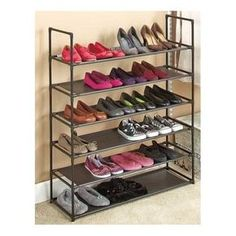 Storage Shoe Rack Product Description: This storage shoe rack is stackable, changeable and versatile! This 6 tier storage shoe organizer holds up to 24 pairs of shoes and is a great organizational too Closet Shelves, Closet Storage, Storage Bins, Storage Rack, Closet Organization, Storage Ideas, Organizing, Storage Solutions, Attic Storage