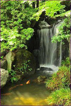 45 special diy garden pond waterfall ideas diy container water garden pond in a pot Ponds Backyard, Backyard Landscaping, Garden Ponds, Fountain Garden, Koi Pond Design, Fountain Design, Garden Waterfall, Waterfall Design, Diy Waterfall