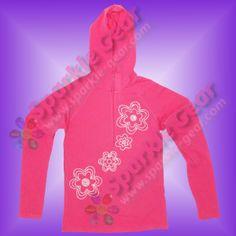 Custom Pink Hoodie with Retro Flowers in Crystal Rhinestones