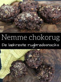 Super lækre rugbrødsboller med masser af mørk chokolade. Perfekt som sundt mellemmåltid eller til morgenmad.