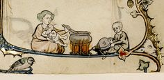 Woman with baby cooking, child with bellows. detail. Ghent c.1320-30…