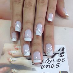 Glitter Tip Nails with Gold Striping white and grey striped nails Glitter Tip Nails, Gold Nails, Pink Nails, My Nails, Fingernails Painted, Fancy Nails, Cute Nails, Pretty Nails, French Manicure Nails