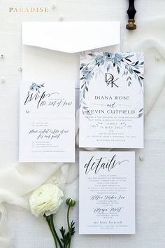 Skyla Dusty Blue Wedding Invitation Sets, Printable Invitations or Printed Invitations, Hand Painted Watercolour Flowers, Wedding Stationery