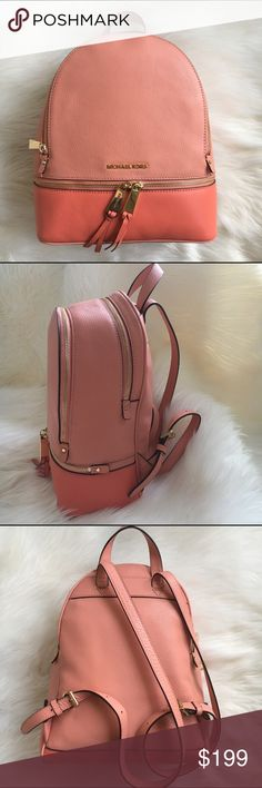 MICHAEL KORS backpack purse Medium sized Light coral and and Mango colored leather backpack by Michael Kors. Measures 11 x 12 New! Authentic  trades Michael Kors Bags Backpacks