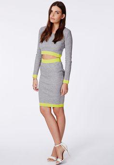 Kizzy Ribbed Lime Contrast Midi Skirt - Midi Skirts - Missguided