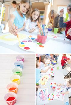 Rainbow Paint Party // Hostess with the Mostess® Art Birthday, Rainbow Birthday, Birthday Parties, Birthday Ideas, Third Birthday, Kids Art Party, Craft Party, Kunst Party, Party Fiesta