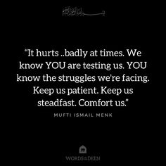"""It hurts ..badly at times. We know YOU are testing us. YOU know the struggles we're facing. Keep us patient. Keep us steadfast. Comfort us."" - Mufti Ismail Menk"