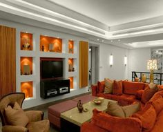 15 Collection new modern family room design with awesome red ...