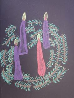 Here's a quick one from my fifth graders that was easily completed in 45 minutes.  After discussing the many ways the Advent wreath symboliz...