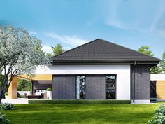 Projekt domu HomeKONCEPT 27 by HomeKONCEPT House Roof, Facade House, Small House Design, Modern House Design, Family Room Addition, Modern Family House, Beautiful House Plans, Modern Style Homes, Contemporary House Plans
