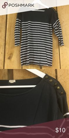 J. Crew Striped Top Buttons on shoulder - 100% cotton - great used condition - 3/4 length sleeve J. Crew Tops Tees - Long Sleeve