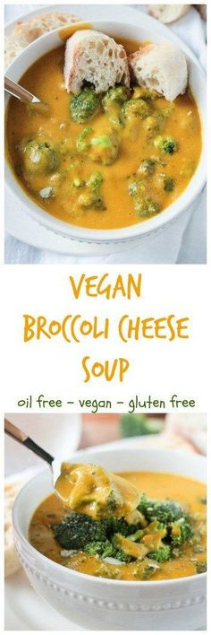 "Vegan Broccoli Cheese Soup - super creamy, super ""cheesy"" broccoli soup. No fake processed cheese! Oil free and gluten free too! #broccoli #soup #comfortfood #wholefoods #cleaneating #vegan #dairyfree #vegetarian #meatless #dinner"