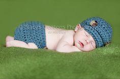 Crochet Boy Newsboy Hat Baby Visor Cap Newborn Beanie Infant Photo Prop Dusty Blue. $20.00, via Etsy.