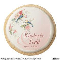 Vintage Love Birds Wedding Favor blush pink white Round Shortbread Cookie