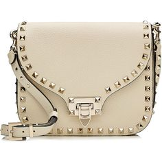 Valentino Rockstud Leather Shoulder Bag (4.695 BRL) ❤ liked on Polyvore featuring bags, handbags, shoulder bags, white, structured purse, white leather handbags, shoulder handbags, white purse and leather handbags